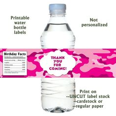 Instant Download / Hot Pink Camouflage Water bottle labels by lemontreecards, $4.00