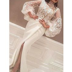 high neck evening dresses 2020 ivory lace appliqué arabic mermaid evening gown formal party dress high neck evening dresses 2020 ivory lace appliqué arabic mermaid even – inspirationalbridal Long Sleeve Evening Gowns, Mermaid Evening Dresses, Formal Evening Dresses, Prom Dresses, Formal Gowns, Dress Formal, Dress Long, Plus Size Evening Gown, Ladies Dresses