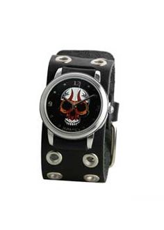 Black Eyelet Skull Watch - Gothic Industrial watches