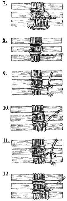 GEAT - Amarra de Tripé - Esta amarra é usada para a construção de Tripés em acampamentos, afim de segurar lampiões ou servir como suporte para qualquer outra finalidade.
