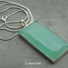 Bold rectangle chalcedony pendant necklace - Green chalcedony jewelry $95.00