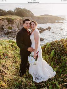 Http://www.tammiegilchristblog.com Bride and groom portrait. Mendocino coast, California. Holly's ocean meadow.