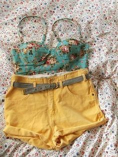 bandeau, floral print, high waist  Make this into an actual shirt and capris and that would be adorable!