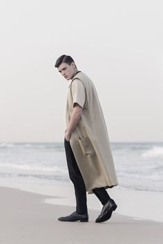 Wool Cashmere Extra Long Sleeveless Coat - ARIEL BASSAN AW15 Campaign - A Sophisticated and Contemporary Menswear Brand with A Distinct Signature of Modern Minimalism