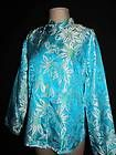 "CHICOS Sz 1 Turquoise Blouse Top Asian Oriental Floral Print Silk Blend 42"" Bust Mandarin Collar"