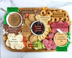 Charcuterie Recipes, Charcuterie Platter, Charcuterie And Cheese Board, Caramel Dip, Caramel Cookies, Caramel Apples, Thanksgiving Cookies, Fall Cookies, Pumpkin Dessert