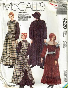 Pioneer costumes in my #etsy shop: 1980s McCall's 4229 UNCUT Vintage Sewing Pattern Misses Pioneer Costume, Prairie Costume, Western Frontier Costume Size XS, Size L http://etsy.me/2DrHmsv #supplies #sewing #missescostume #prairiecostume #pioneercos
