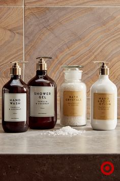 Turn your bathroom into a sanctuary for relaxation and rejuvenation with luxe bath gels, crystals and lotions.
