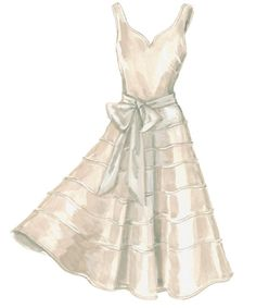Champagne - silk - knee length - sans the bow.  Very sweet.