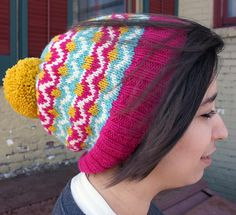 Bron-Yr-Aur is a Fair Isle hat designed to be knit for toddlers to adult sizes. It is knit with four colors in DK to Light Worsted weight yarn. To get an idea of the yardage you will need, I've listed the yardage it took to make the samples below.