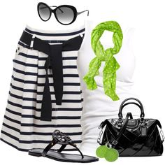 """Stripes, polka dots and pop of lime"" by wishlist123 on Polyvore"