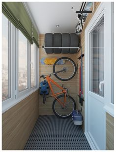 Balcony Bicycle Storage Ideas To Protect Bicycles From Thieves - Unique Balcony Garden Decoration and Easy DIY Ideas Interior Balcony, Apartment Balcony Decorating, Apartment Design, Home Interior Design, Interior And Exterior, Bike Storage Apartment, Small Balcony Decor, Small Balcony Design, Range Velo