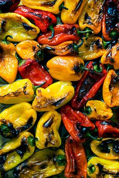Meet your new favorite party trick: balsamic-roasted mini peppers. They roast at high heat and emerge blistered at the edges, tasting sweet but with the right amount of bite thanks to the balsamic. Mini Sweet Peppers, Stuffed Mini Peppers, Vegetable Recipes, Vegetarian Recipes, Cooking Recipes, Healthy Recipes, Healthy Food Blogs, Mini Paprika, Side Dishes