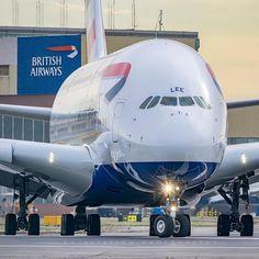 """Photo by @dh_aviation_photography ・・・ British Airways Super Jumbo The A380 G-XLEE about to depart at London Heathrow. ➖➖➖➖➖➖➖➖➖➖➖➖➖➖➖➖➖➖➖ #britishairways…"""