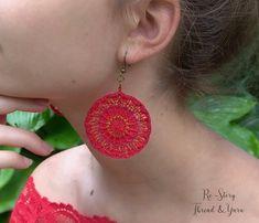 PATTERN Thread Crochet JEWELRY BOHO Crochet Necklace Boho   Etsy Thread Jewellery, Red Jewelry, Jewelry Findings, Boho Jewelry, Jewelry Ideas, Crochet Necklace Pattern, Crochet Jewelry Patterns, Crochet Hook Sizes, Thread Crochet