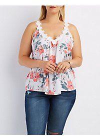 Plus Size Floral Crochet-Trim Tank Top #plussizefashion #plussizeclothing