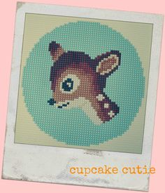 Vintage retro Bambi cross stitch needlepoint pdf by cupcakecutie1, $7.00