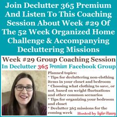 Join Declutter 365 premium and listen to this coaching session about Week #29 of the 52 Week Organized Home Challenge and accompanying decluttering missions, with a discussion of decluttering and organizing your bedroom {on Home Storage Solutions 101} Home Organization Hacks, Paper Organization, Organizing Your Home, Organizing Tips, Cleaning Tips, Financial Organization, Organizing Coupons, Homework Organization, Kitchen Organization