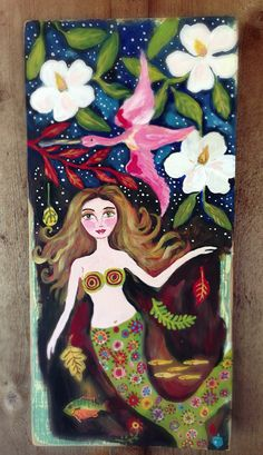 Southern Mermaid on Reclaimed Wood Original Painting on Etsy, $160.00