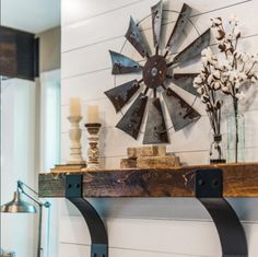 Thomas and Lane on Instagram | Windmill | Rustic Wood Shelf | Mantel