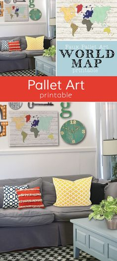 Craftaholics Anonymous® | DIY Faux Pallet Art World Map Printable: Fun idea for home decor