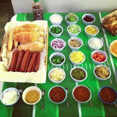 Football Party Food: Hot Dog Bar. Dentists4kids, pediatric dentist locator @ www.dentists4kids.com #Dentists4Kids #pediatric_dentist
