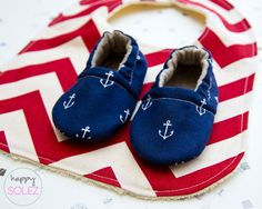 Navy Anchor Baby Booties