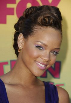 mohawk updo | Black Formal Haircut with Updo Hair for Women from Rihanna Black Prom Hairstyles, Modern Hairstyles, Cool Hairstyles, Wedding Hairstyles, Wedding Updo, Hairstyles Pictures, Hairstyles Haircuts, Short Hair Updo, Curly Hair Styles