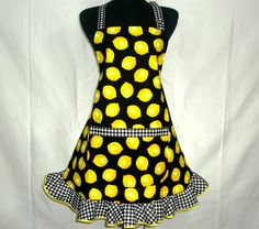 Ruffle apron in lemon print by ElsiesFlat on Etsy.