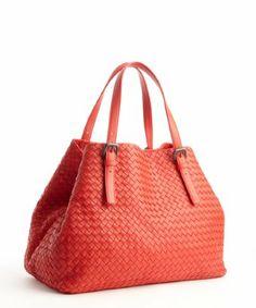Bottega Veneta: red leather intrecciato top handle tote bag