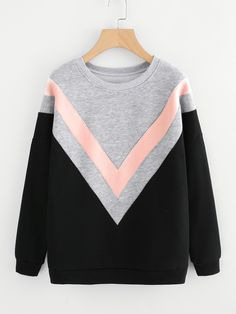 Shop Drop Shoulder Chevron Pattern Sweatshirt at ROMWE, discover more fashion styles online. Sweatshirt Outfit, Pullover Hoodie, Sweater Hoodie, Hooded Sweatshirts, Hoodies, Tumblr Outfits, Girl Outfits, Fashion Outfits, Mode Hijab