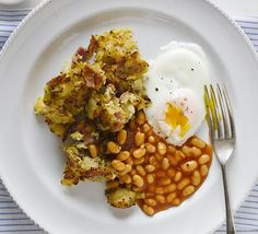 Makeover your fry-up with this low-fat, low-calorie ham hash brown and healthier 'fried' eggs - a great brunch or weeknight dinner