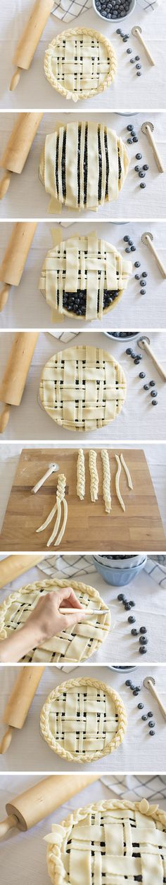 Blueberry pie with lattice and braids design pie crust - Tarta de arándanos con enrejado y trenzas