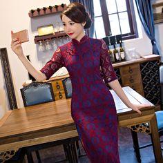 New Arrival Long Slim Women Cheongsam Dress Chinese Ladies Lace Qipao Novelty Sexy Flower Dress Size M L XL XXL XXXL F090102
