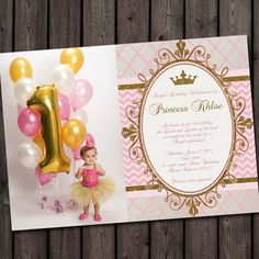 first birthday princess invitation, gold and pink! so cute