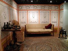 Reconstructed living room ('triclinium'), based on evidence from Watling Court and Southwark Street, AD 100, Londinium, Roman London, Museum of London by carolemadge1, via Flickr