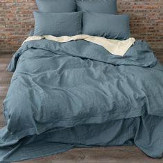 Linen Duvet Cover French Blue Matched Pillow Shams and Natural Linen Sheet