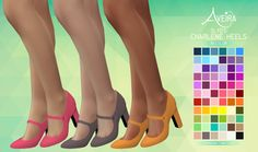 The Sims 4 CC || Aveira || SLYD's Charlene Heels - Recolor 66 Colors || Shoes