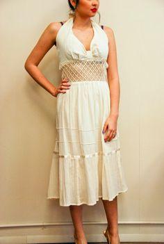 Vintage 70s Pearl Halter Top Lace Summer Dress sz: S (# 13896)