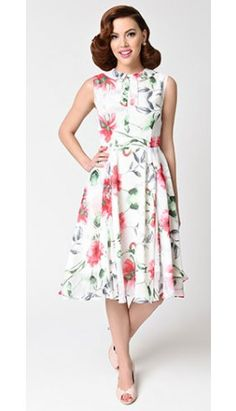 Unique Vintage 1940s Style White & Pink Floral Chiffon Sleeveless Olson Swing Dress