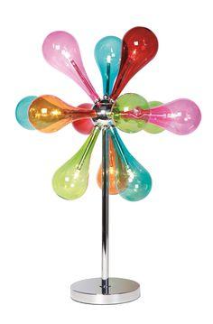 KARE Design Poppige Tischleuchte TL Drops Rainbow 9er mit tollen Farben und zwölf Bubbleschirmen aus Glas und Leuchtmitteln inklusive. #KARE #KAREDesign