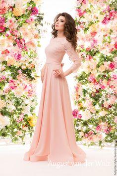 Купить Кружевное платье в макси длине - платье на выпускной ! - однотонный, модное платье