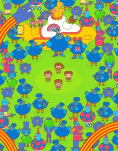 My second solo exhibition at Gallery 1988 in Los Angeles. All new pop culture cast & crowd kawaii explosions. Doodle Characters, Peach Aesthetic, Yellow Submarine, Buy Prints, Amazon Art, Little People, Pixel Art, The Beatles, Halloween