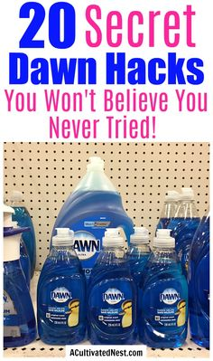 20 Frugal Ways to Use Dawn Dish Soap- Did you know that Dawn dish soap can replace a lot of household products? Check out these frugal ways to use Dawn dish soap! These hacks and tips can save you a lot of money! Homemade Cleaning Products, Household Cleaning Tips, Deep Cleaning Tips, Household Cleaners, Cleaning Recipes, House Cleaning Tips, Natural Cleaning Products, Spring Cleaning, Cleaning With Vinegar