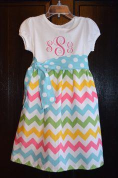 Girls Chevron Dress/Easter Dress/Birthday Dress  by watermelonseed, $30.00