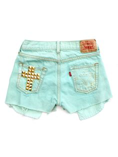 Image of Aqua Cross Cut-Offs | LEVIS not wild about the flashy/gaudy cross, but love the color!