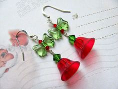#Red #Christmas #Bell #Earrings #Vintage #Plastic #Swarovski #Crystal #Bow #jewelry #thecraftstar $16.00