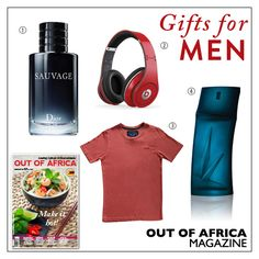 Get Shopping with OUT OF AFRICA: FEBRUARY Issue OUT NOW!  Fantastic gift ideas for men this Valentines Day.  1. SAUVAGE from $110 confident and elegant. Powerfully crisp and clean Sauvage stirs a whirlwind of characteristic notes. Available at Catts Beauté. 2. BEATS STUDIO HEADPHONES $395 the Beats Acoustic Engine makes your listening experience personal and real. Available at Solution Centre. 3. ACA JOE T-SHIRT $19 wear this trendy and fashionable t-shirt while being casual and comfortable…