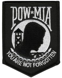"""Amazon.com: [Single Count] Custom, Cool & Awesome {3"""" x 4"""" Inch} Small Shield Military Armed Forces POW MIA Prisoner of War Missing In Action You Are Not Forgotten (Military Book Type) Velcro Patch """"Black White"""": Clothing"""