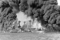 Burning battleships Arizona, West Virginia, and Tennessee at Pearl Harbor, US Territory of Hawaii, 7 Dec 1941